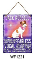 Jack Russell Metal Dog breed signs.  Lovely bright colours signs with each breeds personality traits listed below. Size is 20cm x 27cm each sign.