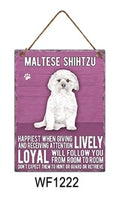 Maltese Shihtzu Metal Dog breed signs.  Lovely bright colours signs with each breeds personality traits listed below. Size is 20cm x 27cm each sign.