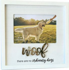 Beautiful White Photo Frame - for dog saying - WOOF there are no ordinary dogs. Takes photos 10cm x 15cm