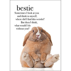 Affirmation Card - Bestie. Sometimes I look at you and think to myself, where did I find this weirdo? But then I think what would I do without you?