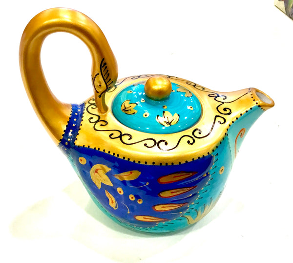 Beautiful Swan teapot in blue hues with gold accents. Great for the avid teapot collector or Swan lover