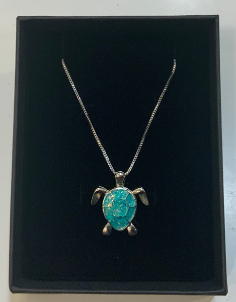 Turquoise Turtle opal pendant with box chain. 40 to 42 cm in length  Great gift for the Turtle lover.  Colours of opals vary.