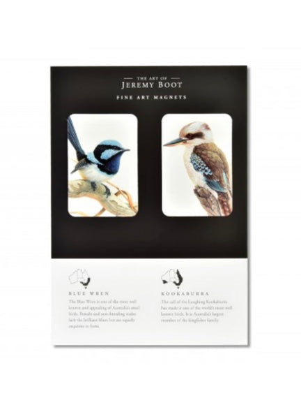 Blue Wren and Kookaburra Magnets by Jeremy Boot