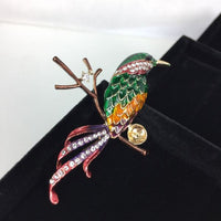 Beautiful Bird Brooch - Green and Yellow body with red tail on branch