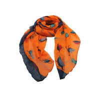 Orange Bird Scarf with Navy border - Beautifully made from  this elegant accessor is made from the finest materials such as fine cotton and /or blended yarns like linen, silk, viscose wool and others. Please handle with care in order to maintain its look.
