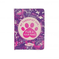 My Therapist has Fur & Four paws - Small pocket notebook 11 x 15cm. 66 Lined pages with metallic stamp on cover.