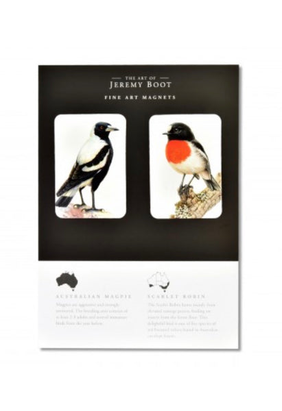 Australian Magpie and Scarlet Robin Magnets by Jeremy Boot