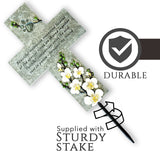 Cross pictured with Sturdy Stake and durable - weather proof