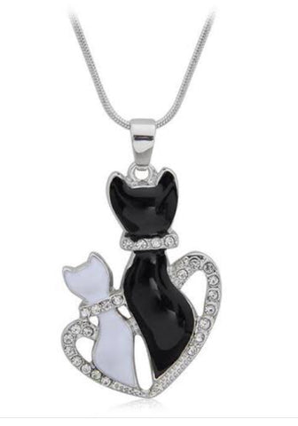 Necklace Black & White Cats