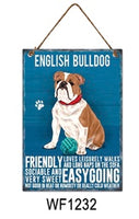 English Bulldog Metal Dog breed signs.  Lovely bright colours signs with each breeds personality traits listed below. Size is 20cm x 27cm each sign.