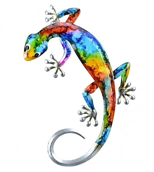 Metal wall art Gecko small - bright colours red, green,blue Yellow Pink and orange. dimensions 15cm x 1 cm x 32cm.
