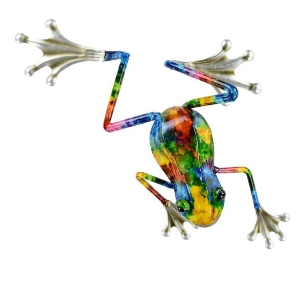 Wall Art Frog bright colours red blue yellow green and orange.  Small size 8cm x 28cm x 28cm