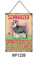 Schnauzer Metal Dog breed signs.  Lovely bright colours signs with each breeds personality traits listed below. Size is 20cm x 27cm each sign.