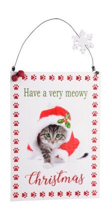Large Christmas Plaque - Have a very Meowy Christmas - Cat  in Christmas hat