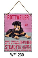 Rottweiler Metal Dog breed signs.  Lovely bright colours signs with each breeds personality traits listed below. Size is 20cm x 27cm each sign.
