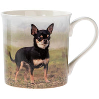 Black and Tan chihuahua in a field - dog mug