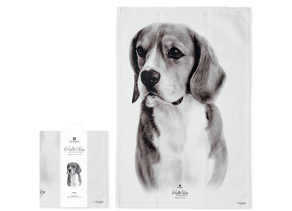 Beautiful Beagle - Delightful Dogs Kitchen Towels. 100% Cotton 230 Gram/SQM  Size L70 x W 50 x H0.2cm