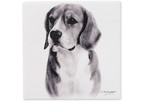 Beagle Ceramic coaster - Beautifully made Delightful Dog Coasters. Made with a ceramic top and a cork base. 12 designs Size: L10cm x W10cm x H0.8cm