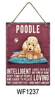 Poodle Metal Dog breed signs.  Lovely bright colours signs with each breeds personality traits listed below. Size is 20cm x 27cm each sign.