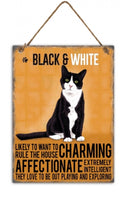 Black & White Metal Cat breed signs.  Lovely bright colours signs with each breeds personality traits listed below. Size is 20cm x 27cm each sign.