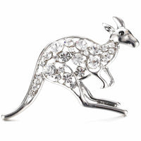 Kangaroo Brooch with cubic zirconia