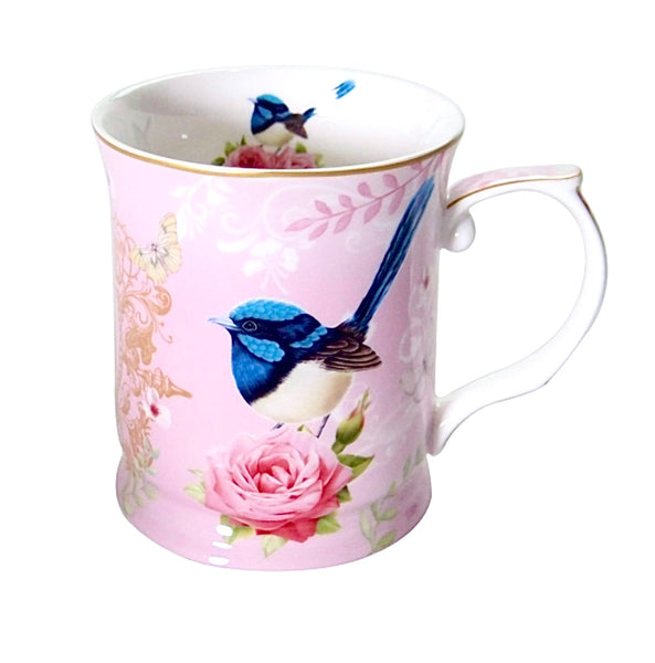 Beautifully presented Pink porcelain Blue Wren mug available with either a blue or pink background. Fantastic gift for the bird collector or Blue Wren lover. 415ml.