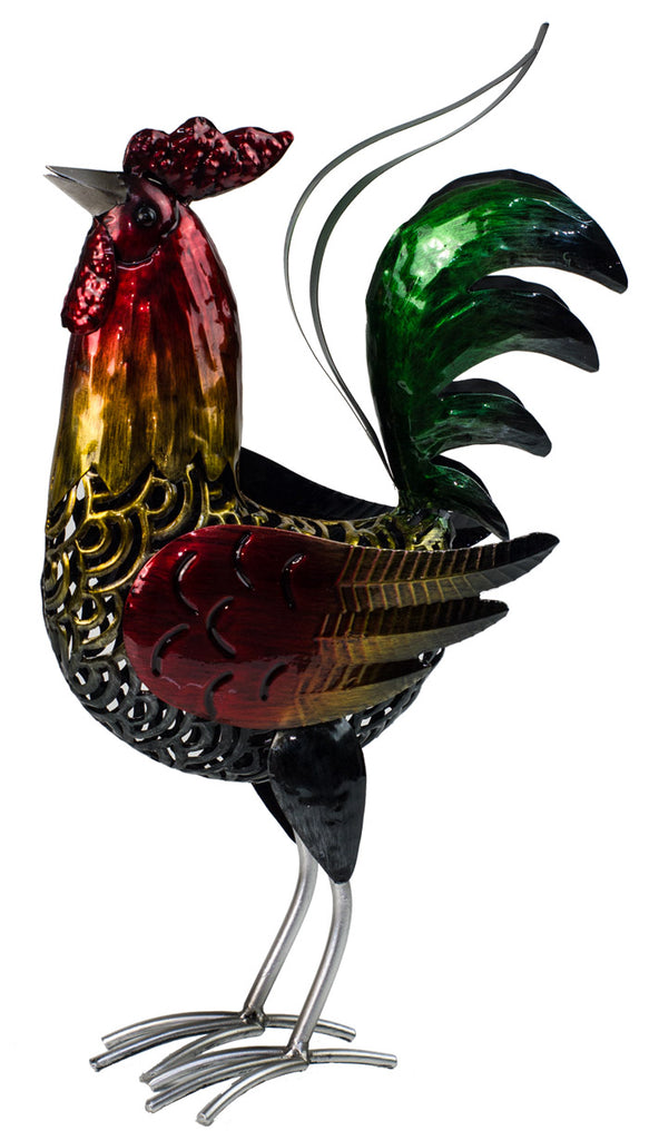 Rooster coloured Deco beautifully designed reds greens and golden, strong legs