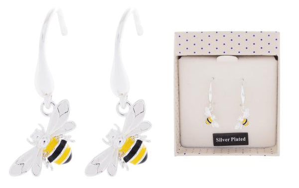 Silver plated beautifully bee earrings. Beautifully presented in a gift box.  7 x 6 x 3cm. Made by Equilibruim