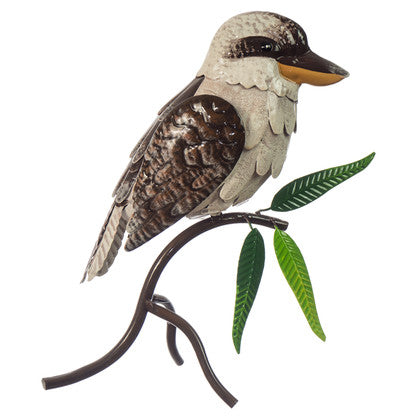 Metal Kookaburra on stand with leaves.25 x 13 x 30cm - Metal decoration