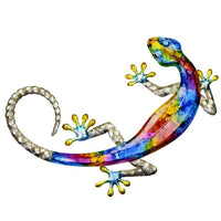 Metal  wall art Gecko - bright colours of pink red blue green and orange.