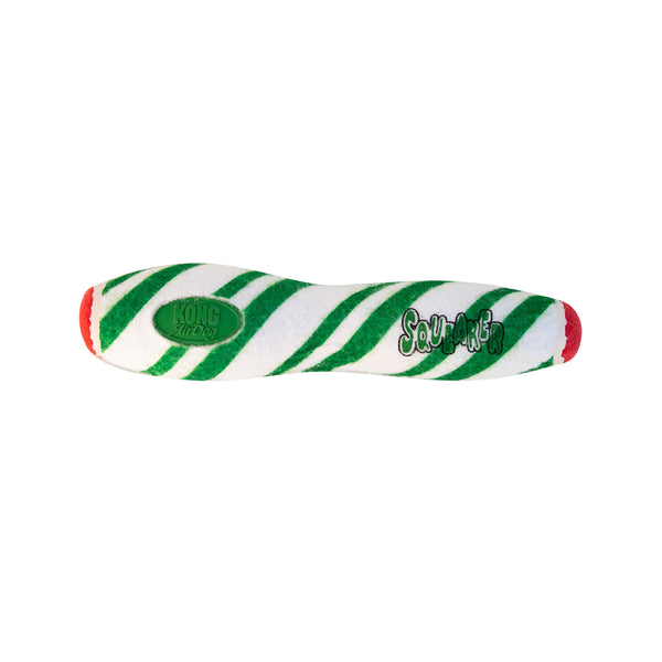 KONG Holiday AirDog Stick combines two dog favorites— a tennis ball and a squeaker—into one fabulous fetch toy then wraps it in candy cane swirls. KONG Tennis non-abrasive material is softer on teeth than regular tennis ball felt. The squeaker calls dogs to play and keeps them engaged while the dynamic bounce makes for unpredictable fetching fun. In Green