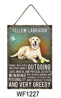 Yellow Labrador Metal Dog breed signs.  Lovely bright colours signs with each breeds personality traits listed below. Size is 20cm x 27cm each sign.