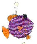 Beadworx fish snippet - in Mauve and orange