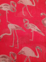 Red Scarf Pink and white Flamingos. Beautifully made from  this elegant accessor is made from the finest materials such as fine cotton and /or blended yarns like linen, silk, viscose wool and others. Please handle with care in order to maintain its look.