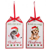 Small Christmas Plaques Cats (Have a very Meowy Christmas) Dogs (We wish you a Waggy Christmas)
