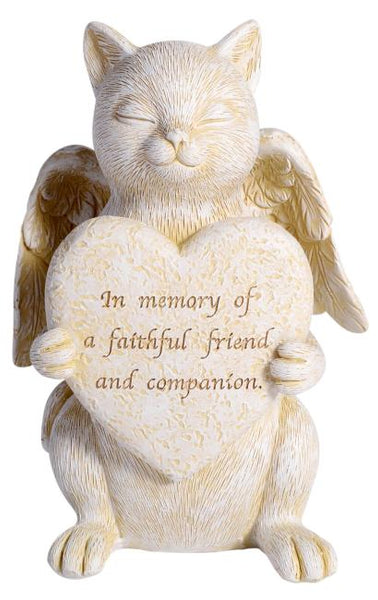 Cat Memorial plaque with wings. 15cm h x 9cm x 6 cm d.  Saying: in memory of a faithful friend and companion.