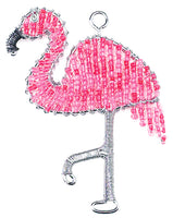 beaded Keyring - Pink Flamingo