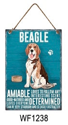 Beagle Metal Dog breed signs.  Lovely bright colours signs with each breeds personality traits listed below. Size is 20cm x 27cm each sign.