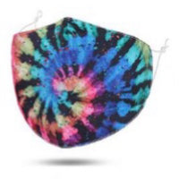 Maskit Reusable tie die Black swirl Cotton Mask with 3 PM2.5 filters included in pack