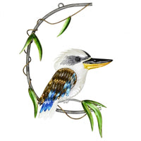 Beautiful metal Kookaburra hanging in semi circle with leaves for decoration. 43cm H x 30 cm w x 3.5cm d.