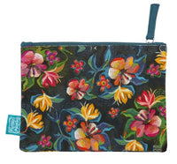 Flowers - Beautiful designed with fun artistry, these cotton pouches are fantastic addition. They can be used for a cosmetic pouch, cables & charger pouch, pen and pencil case or just for notes and coins. 20cm x 15cm.