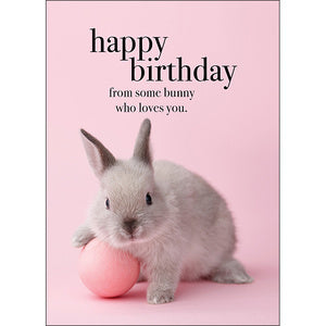 Affirmation Card - Beautiful presented card  Happy Birthday - From some bunny who loves you  Inside Verse - Have a happy day!