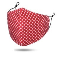 Maskit Reusable Red & White Polka Dot Cotton Mask with 3 PM2.5 filters included in pack