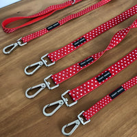 Red & White Polka Dots Leash by Soapy Moose