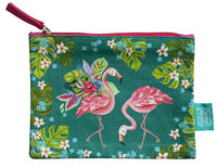 Flamingos - Beautiful designed with fun artistry, these cotton pouches are fantastic addition. They can be used for a cosmetic pouch, cables & charger pouch, pen and pencil case or just for notes and coins. 20cm x 15cm