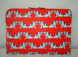Beautiful Laptop  protective Case with red pug patterns. Fantastic for the pug lover or  just great to keep your laptop protected.  Dimensions: 38 x 38 x 2.5cm Case view