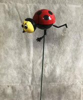Beautifully colourful Ladybug garden stake. 80 x 90 x 600mm