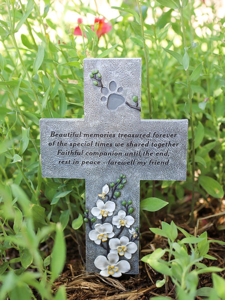 Cross with paw print and orchids - saying on cross - Beautiful memories treasured forever of the special times we shared together. Faithful companion until the end, Rest In Peace - farewell my friend.