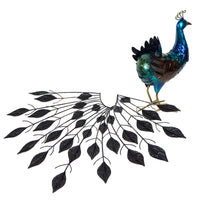 Detachable tail for transporting. Beautiful Metal Peacock in show stand. Measures 65 x 24 x 77cm- Metal Decoration, tail detaches for easy and safe transport. Great quality, painted front & back, lacquered