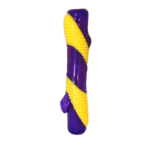 KONG Sqeezz bitz Stick - purple and yellow - great for throwing for you dog - large
